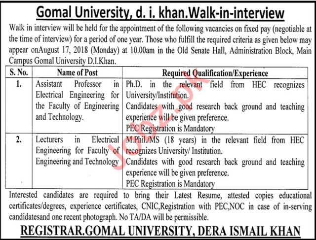 Gomal University D I Khan Jobs Interview 2018
