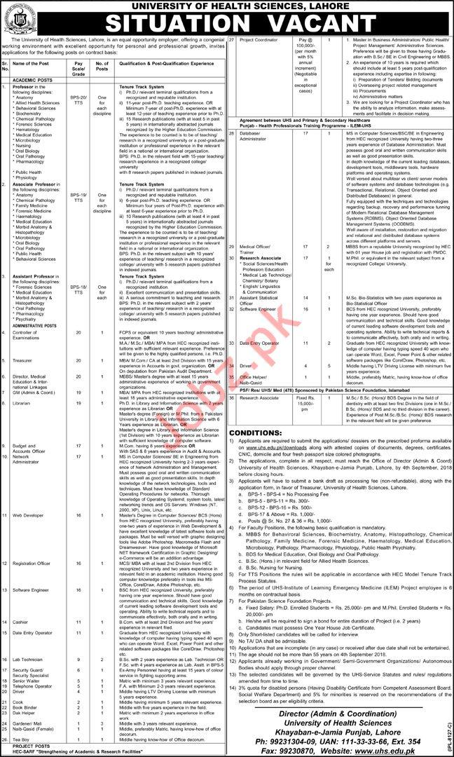 University of Health Sciences UHS Lahore Jobs 2018