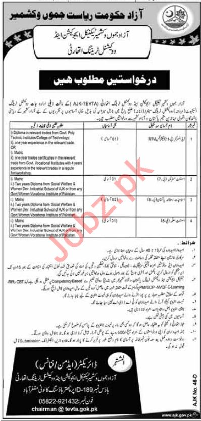 Trade Instructor Jobs 2018 in AJK TEVTA
