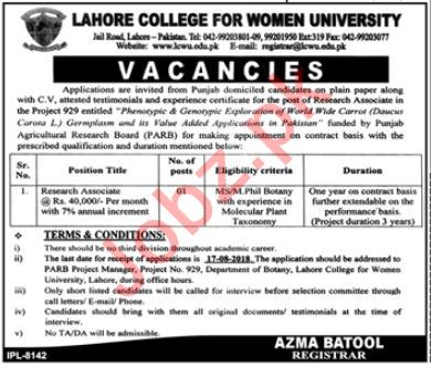 Lahore College for Women University Research Associate Jobs