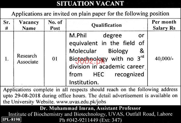 Institute of Biochemistry and Biotechnology UVAS Jobs