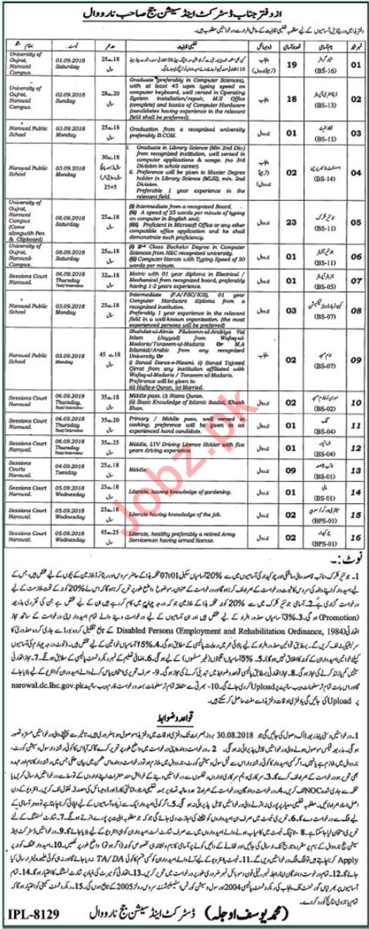 District & Session Court Narowal DEOs & Clerks Jobs 2018