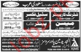 Shuttering Carpenter, Mason, Steel Fixer & Painter Jobs 2018