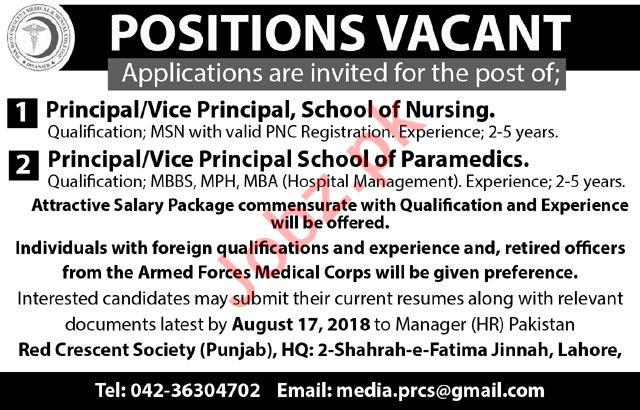 PRCS Punjab Jobs 2018 for Principal