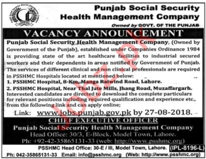 Punjab Social Security Health Management Company PSSHMC Jobs