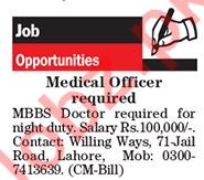 MBBS Doctor Jobs Opportunity in Lahore 2018