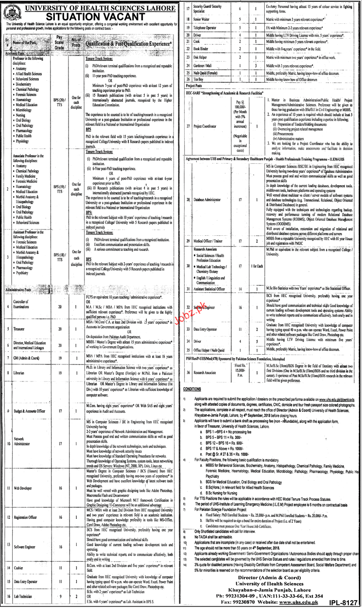 University of Health Sciences UHS Lahore Teaching Jobs