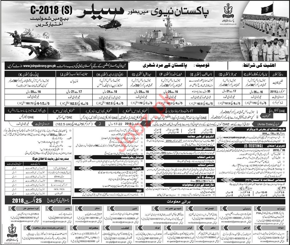 Join Pakistan Navy as Sailor C-2018 S