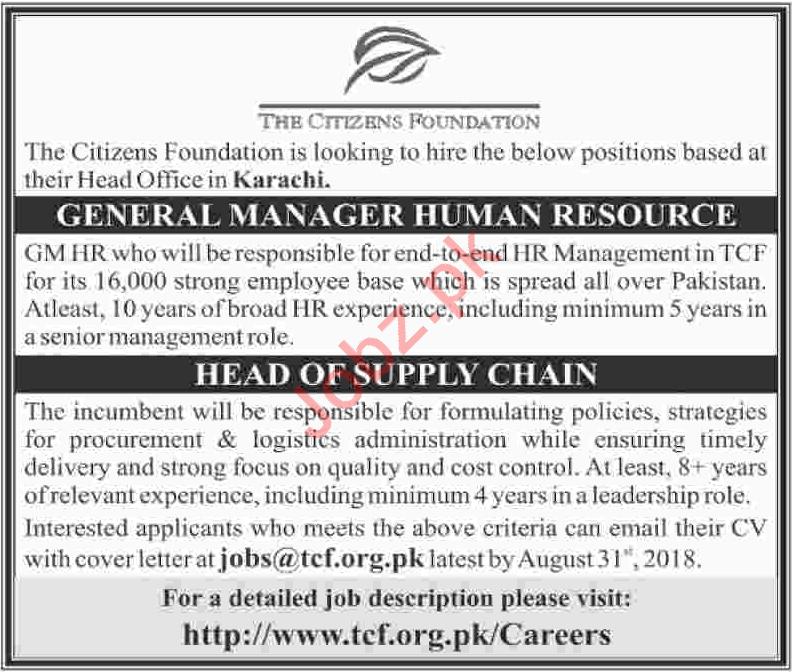 The Citizens Foundation TCF Karachi NGO Jobs 2018