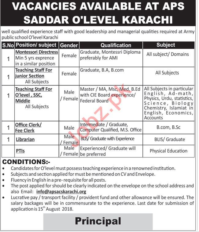 Army Public School APS Karachi Jobs 2018 for Teachers