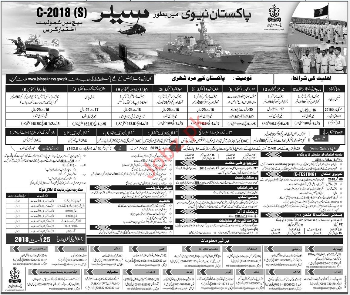 Join Pakistan Navy as Sailors