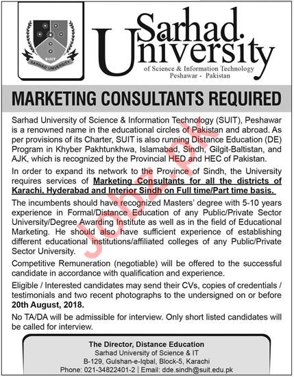Sarhad University Karachi Marketing Consultant Jobs 2018