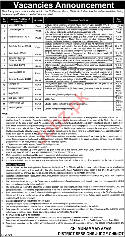 Jobs at Civil Session Courts Chiniot