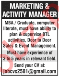Marketing & Activity Manager required