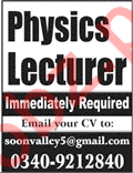 Physics Lecturers Immediately Required