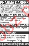 Managers for Pharmaceutical Company