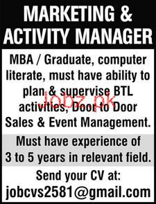 Marketing & Activity Manager Job Opportunity