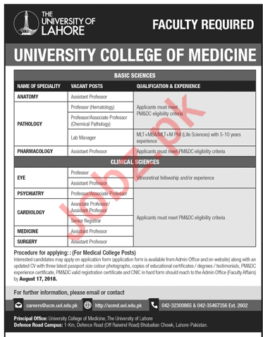 University of Lahore UOL Jobs 2018 for Professors & Managers