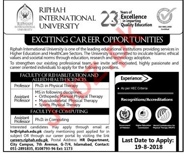 Riphah International University Islamabad Professors Jobs