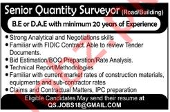 Senior Quantity Surveyor Jobs 2018 in Islamabad