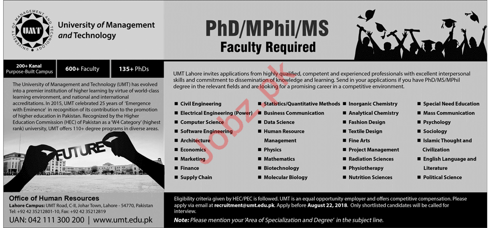 University of Management & Technology Lahore Jobs 2018
