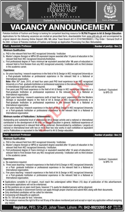 Pakistan Institute of Fashion & Design Lahore Professor Jobs