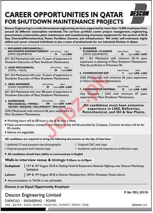 Descon Engineering Lahore Jobs for Engineers & Coordinators