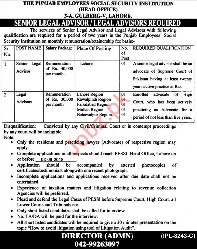 Punjab Employees Social Security Institution Advisor Jobs