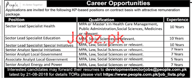 Sector Lead Specialists Education Job Opportunity