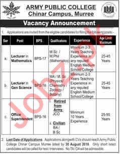 Army Public College Chinar Campus Murree Jobs 2018