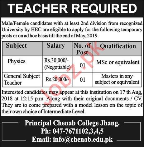 Chenab College Jhang Teachers Jobs 2018