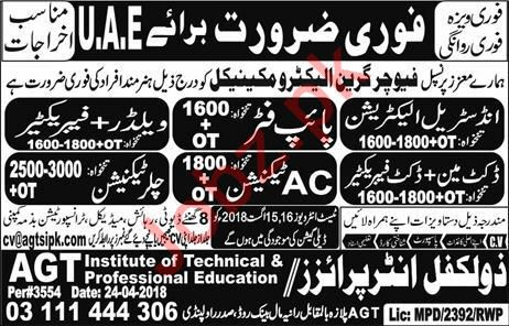 Electrician, Pipe Fitter, Welder, AC Technician Jobs 2018