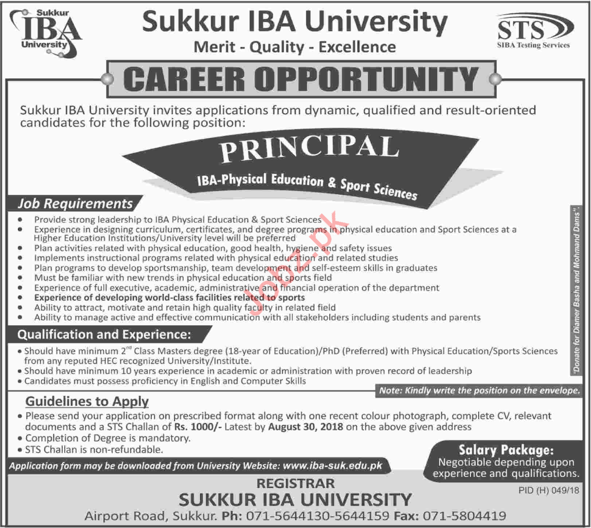 Sukkur IBA University Principal Job 2018 Via STS