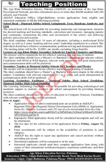 Aga Khan Education Service Pakistan AKESP Jobs 2018