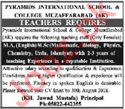 Pyramids International School & College Teachers Jobs 2018