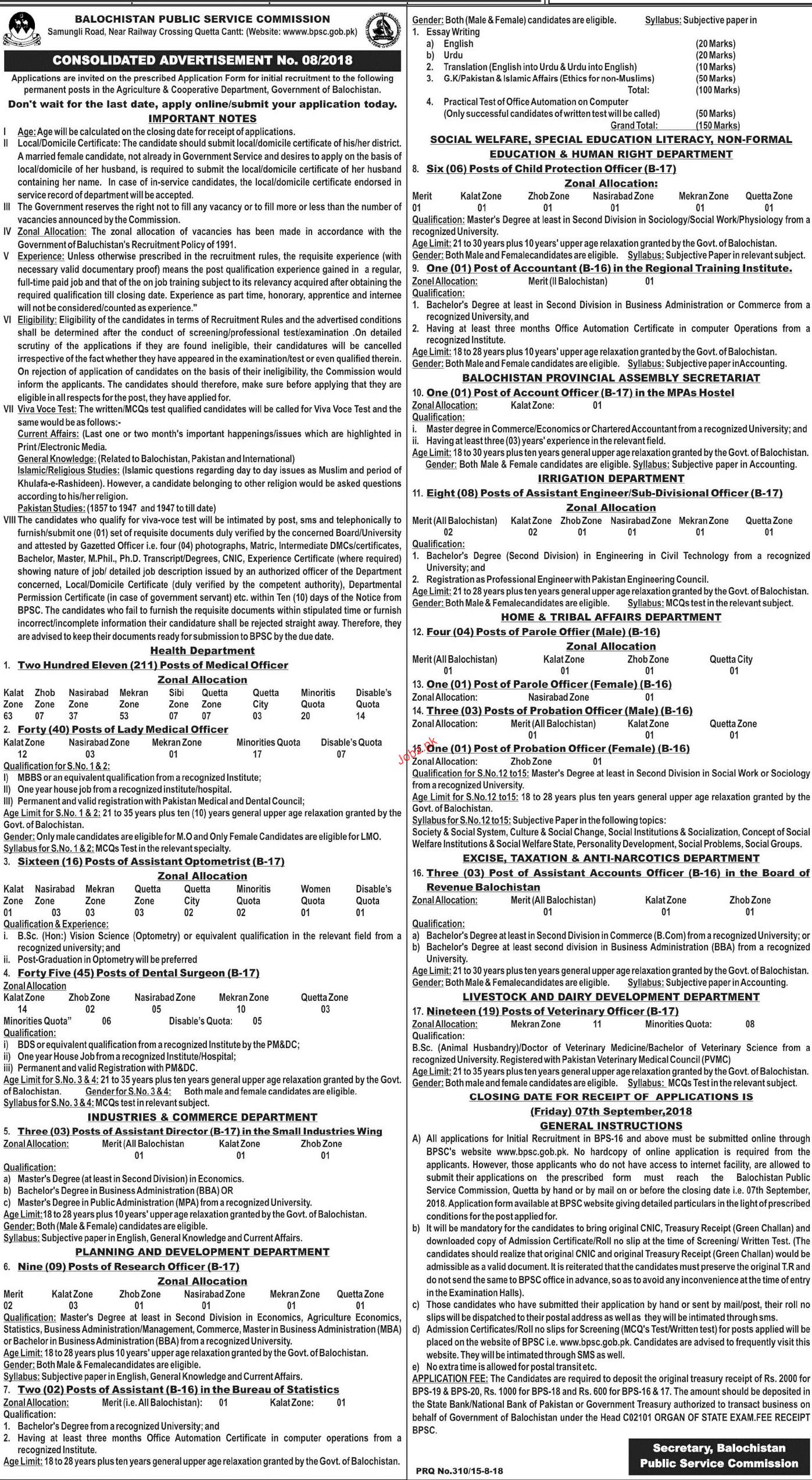 BPSC Balochistan Public Service Commission Jobs August 2018