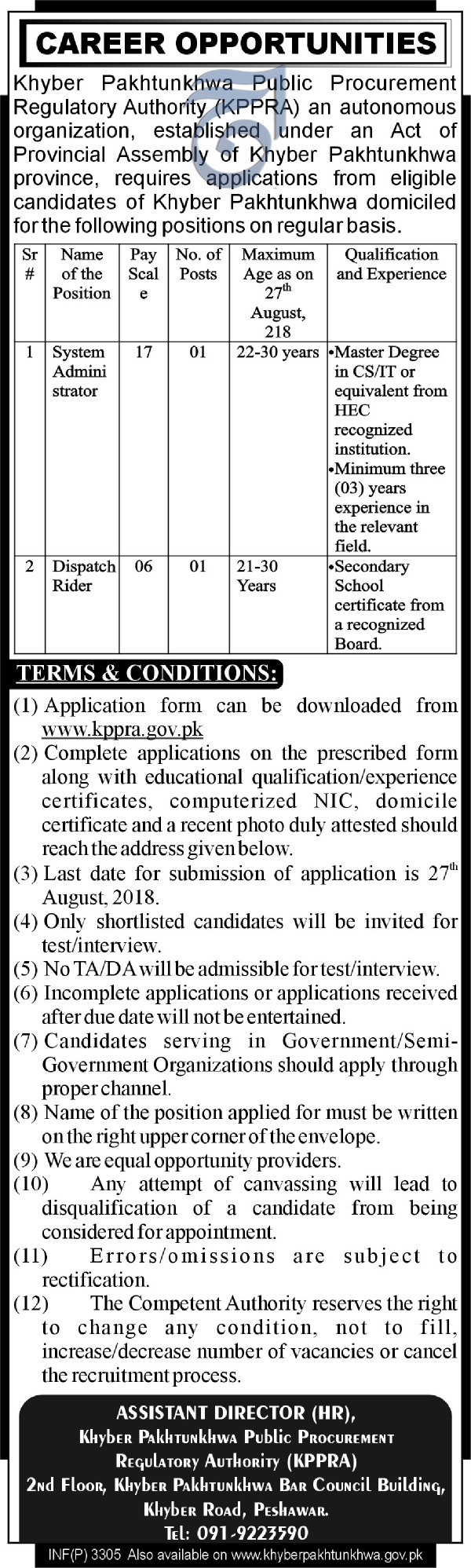 KPK  Public Procurement Regulatory Authority KPPRA Jobs