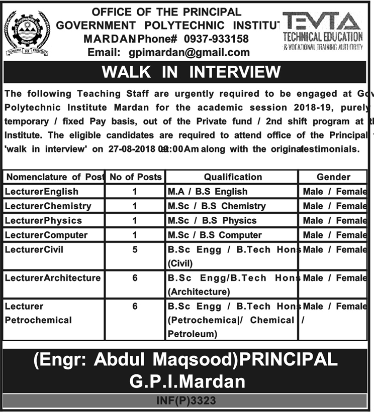 Government Polytechnic Institute Lecturers Jobs