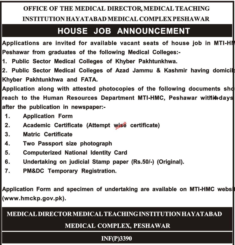 Medical Teaching Institute Hayatabad Medical Complex HMC Job