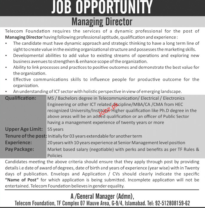Telecom Foundation Managing Director Jobs