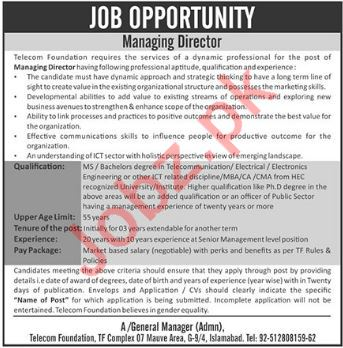 Telecom Foundation Islamabad Jobs 2018 for Managing Director