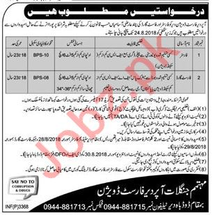 Forest Division Upper Dir Jobs 2018 for Forester & Guards