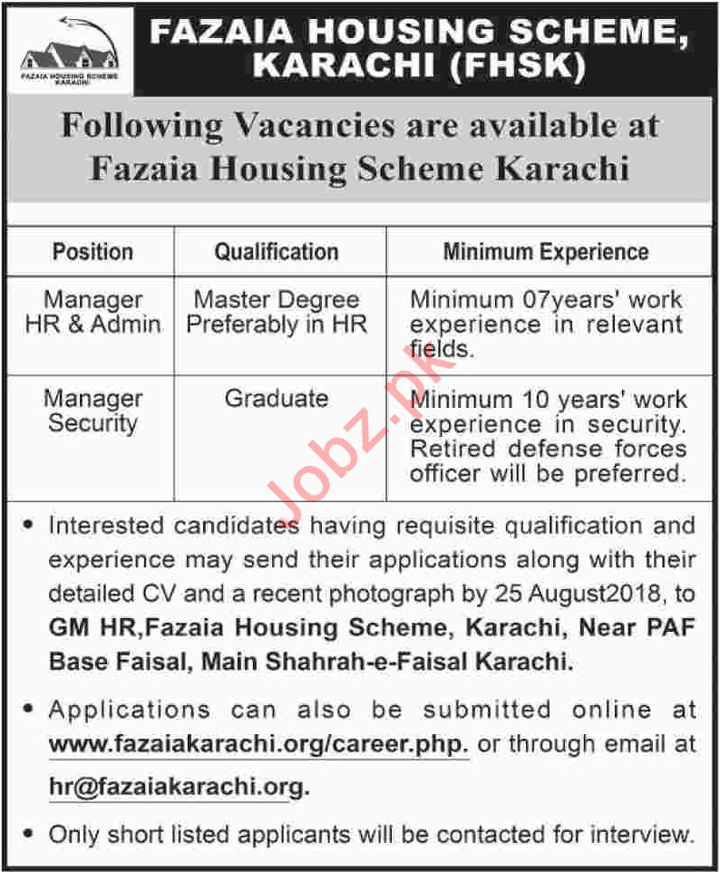 Fazaia Housing Scheme Karachi FHSK Jobs 2018 for Managers