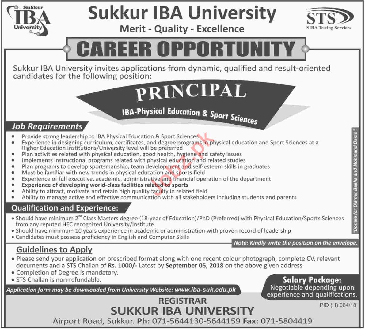 Principal for Sukkur IBA University