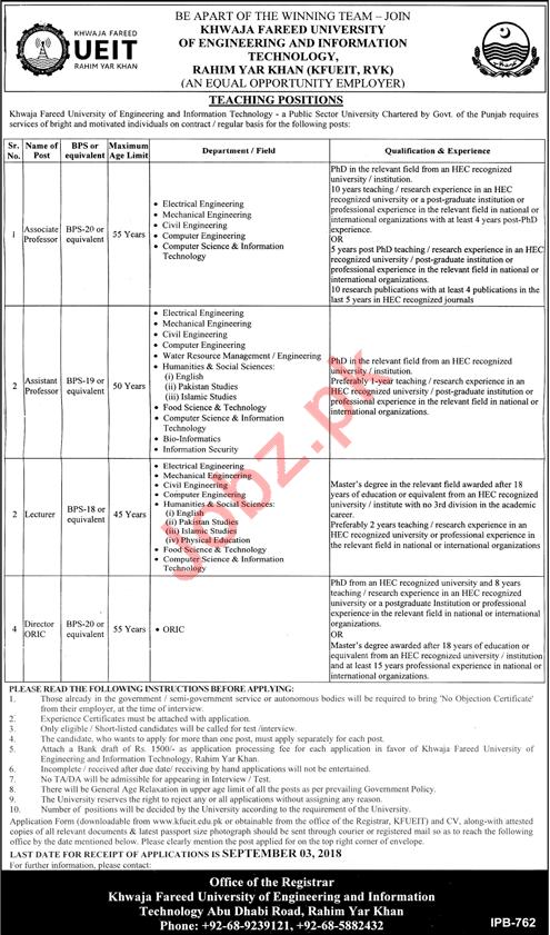 Khawaja Fareed UEIT Jobs