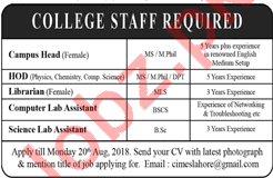 College Staff Required
