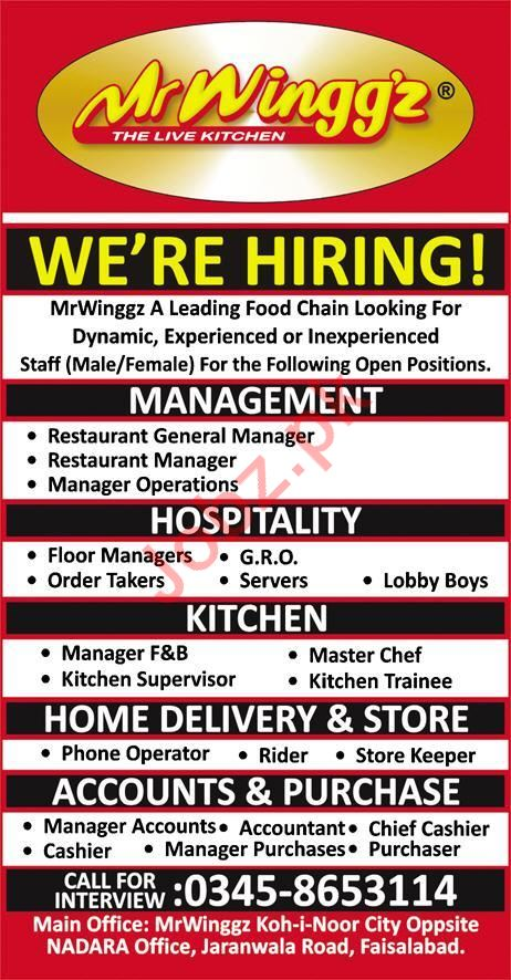 Mr Winggz Faisalabad Jobs 2018 for Managers