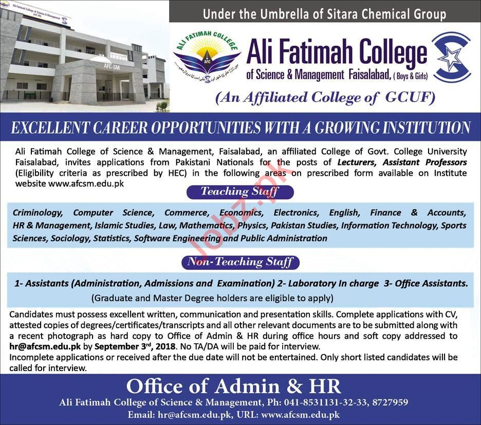 Ali Fatimah College Faisalabad Jobs 2018 for Lecturers 2019