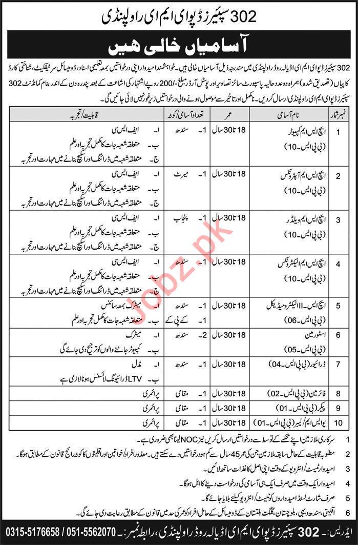 Pak Army 302 Spares Depot EME Rawalpindi Jobs 2018