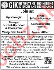 GIK Institute of Engineering Science Swabi Manager Jobs 2018